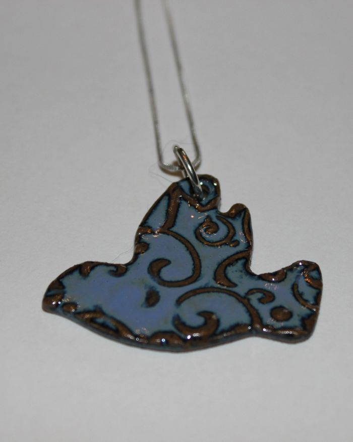 Stoneware bird necklace